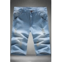 Vintage Destroyed Ripped Detail Mens Slim Fit Light Blue Denim Shorts