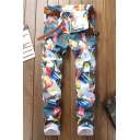 New Stylish Retro Allover Printed Mens Stretch Fit Jeans