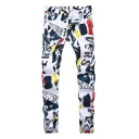 Guys Stylish Street Style Letter Graffiti Printed Stretch Slim Fit White Jeans