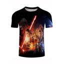 Cool 3D Galaxy Character Pattern Black Round Neck Basic T-Shirt
