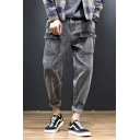 Guys Street Style Multi-Pockets Rolled Cuff Relaxed Fit Grey Jeans