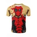 Hot Fashion 3D Printed Basic Short Sleeve Khaki T-Shirt