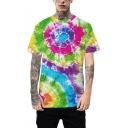 New Stylish Unique Ombre Colorful Tie-Dye Print Short Sleeve Unisex Loose Fit T-Shirt