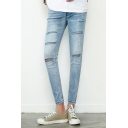 Men's Hot Fashion Light Blue Distressed Ripped Skinny Fit Jeans