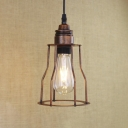 Antique Copper 1 Light Iron Cage LED Mini Hanging Pendant with Adjustable Chain