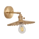 Rotatable 1 Light Scalloped Wall Light Vintage Metal Sconce Light in Brass for Bedside