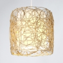Pastoral Drum Pendant Lighting Rattan 1 Light Beige Hanging Lamp for Corridor