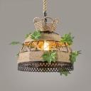Rustic Beige Pendant Light with Bucket/Dome Single Light Rope Pendant Lighting