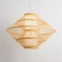 Bamboo Saucer Hanging Light One Light Asian Pendant Lighting in Wood for Restaurant