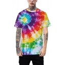Trendy Colorful Ombre Tie-Dye Print Loose Fit Unisex Casual T-Shirt