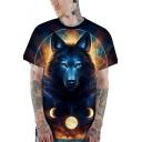 New Trendy 3D Galaxy Wolf Print Summer Unisex Casual Loose T-Shirt