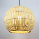 Beige/Brown Globe Hanging Lamp Pastoral Single Light Rattan Pendant Light for Hallway Corridor