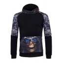 Cool Skull Printed Black Long Sleeve Casual Pullover Hoodie