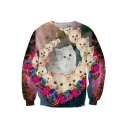 Mens Trendy 3D Cat Floral Printed Round Neck Long Sleeve Casual Sweatshirt