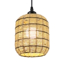 1 Light Bucket Suspended Lamp for Cafe Vintage Style Rope Ceiling Pendant Light in Beige, 6