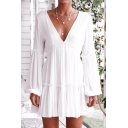 Sexy Plunge V-Neck Long Sleeve Ruffle Trim White Mini A-Line Dress