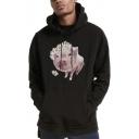 Cartoon Pig Floral Printed Long Sleeve Mens Sport Casual Pullover Hoodie