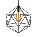 Cage Style Diamond Shape Indoor Mini Hanging Pendant
