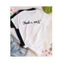 Simple Letter THANK U NEXT Printed Basic Short Sleeve Casual Unisex White T-Shirt