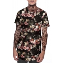 Men's New Stylish Floral Printed Short Sleeve Round Hem Relaxed Fit T-Shirt