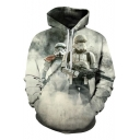 Unisex Stylish 3D Robot Soldier Print Long Sleeve Loose Fit Grey Drawstring Hoodie