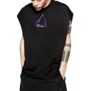 Street Style Galaxy Triangle Printed Sleeveless Unisex Cotton Tank