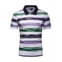Summer Men's Color Block Striped Print Lapel Casual Slim Fit Polo Shirt