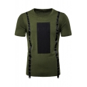 Men's New Stylish Colorblocked Tape Patched Round Neck Short Sleeve Casual T-Shirt