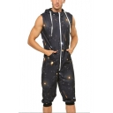 Mens Hot Popular Black Galaxy Printed Drawstring Hooded Sleeveless Lounge Home Wear Rompers Jumpsuits
