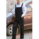 Mens Stylish Black Unique Buckle Straps Breathable Mechanic Overalls