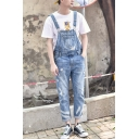 Guys Summer Trendy Ripped Detail Rolled Cuff Light Blue Denim Bib Overalls
