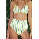Sexy Colorful Striped Print Spaghetti Straps Sleeveless High Waist Bottom Bikini Swimwear