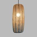 Rope Mesh Cylinder Ceiling Pendant for Cafe Modern 1-Light Hanging Lamp in Beige&Blue