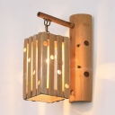 Square Shade Wall Lamp in Rustic Style 1LT Bamboo Hallway Sconce Wall Light in Wood, 25
