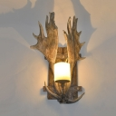 Rustic Style Antlers Shape Sconce Resin and Frosted Glass Single Light Wall Light for Hallway Dining Room