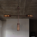 3/5 Lights Cylinder Chandelier Light Kitchen Industrial Metal Hanging Light Fixture in Bronze