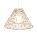 Living Room Cone Shape Ceiling Light Rattan Antique Style Beige Pendant Lighting for Restaurant