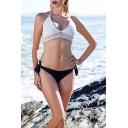 Sexy Simple Plain Knit Halter Neck Tied Side Bikini Swimwear