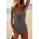 Sexy Fashion Plaid Pattern Sleeveless Bow Tied Front Hollow Out One Pieces Swimwear