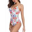 Womens New Trendy Floral Pattern V-Neck Crisscross Back White One Piece Swimsuit Swimwear