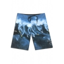 Men's Blue Fashion Printed Drawstring Waist Quick-Dry Surf Swim Trunks