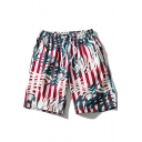 Mens Trendy Stripe Tropical Leaf Print Drawstring Waist Casual Red Beach Swim Trunks
