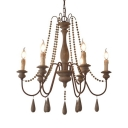 Candle Shape Chandelier Light 6/8 Lights Wood Beads Rustic Style Pendant Lighting for Living Room