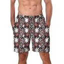 New Stylish Chic Floral Printed Men's Elastic Waist Loose Casual Swim Shorts