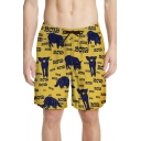 Funny Allover Pig Printed Mens Beach Yellow Board Shorts Swim Trunks