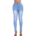 Women's Faded Blue Chic Beading Embellished Stretch Skinny Fit Jeans