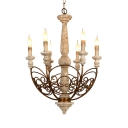 Candle Shape Pendant Lamp 6 Lights European Style Metal and Wood Hanging Light for Living Room