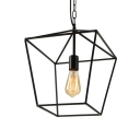 Black Lantern Pendant Light with Metal Frame Single Light Industrial Hanging Ceiling Light