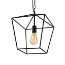 Black Lantern Pendant Light with Metal Frame Single Light Industrial Hanging Ceiling Light