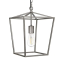 Antique Nickel Lantern Ceiling Light with Hanging Chain Vintage Metal Pendant Lighting for Kitchen Bar